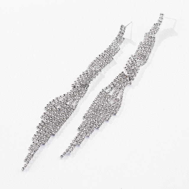 Women's Fashion Long Big Pendant Wedding Crystal Earrings.