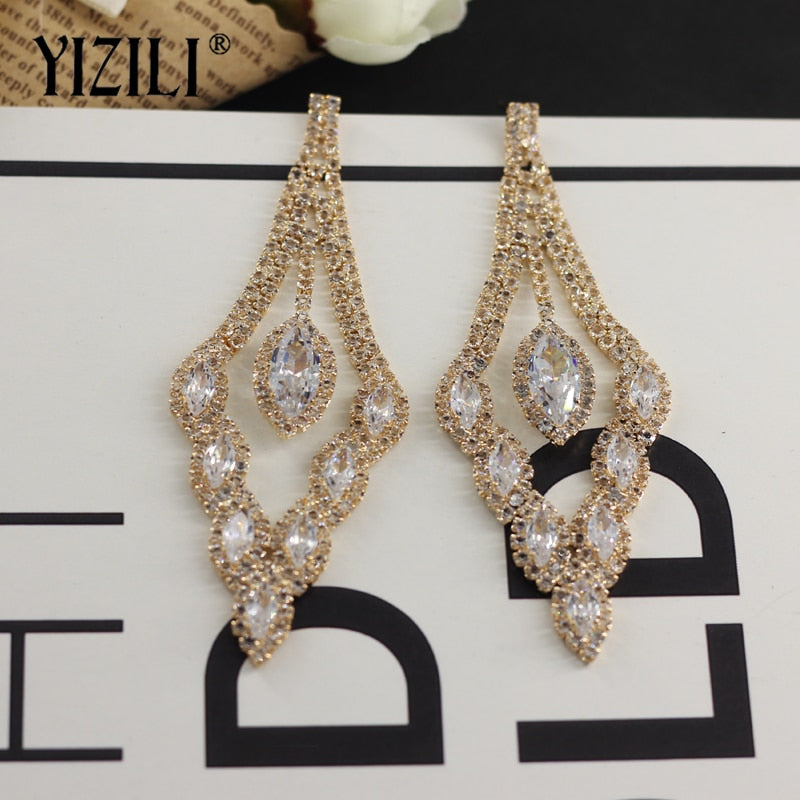 Women's Rhinestone Long Tassel Earrings Wedding Earrings Fashion Jewelry.