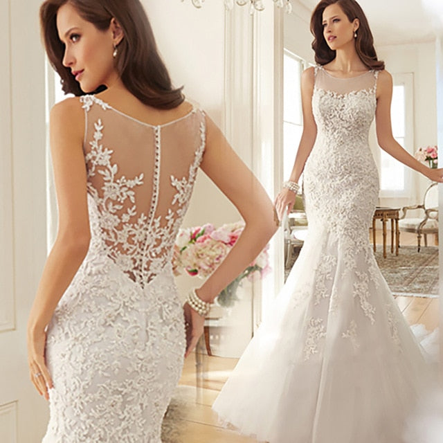 New Bride Dress Strapless Mermaid Lace White Wedding Dresses