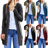 Elegant Women's Coats-Spring Autumn Button Knitted Cardigan Overcoat.