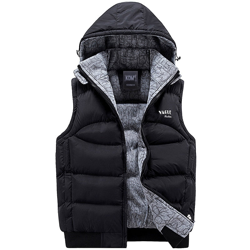 Men's Fashion Hooded Cotton-Padded Vest Thickening Waistcoat.
