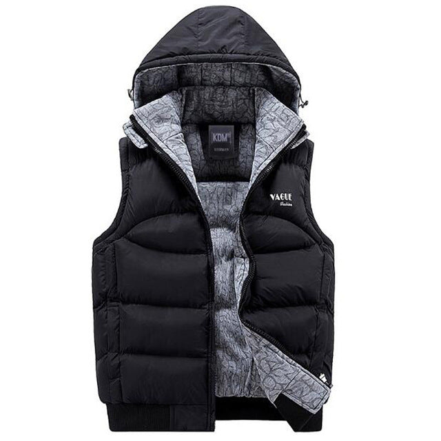 Men's Fashion Hooded Cotton-Padded Vest Thickening Waistcoat