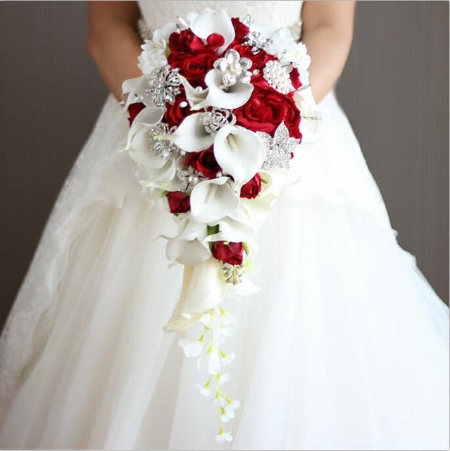 Waterfall Red Wedding Flowers Bridal Bouquets Artificial Pearls.