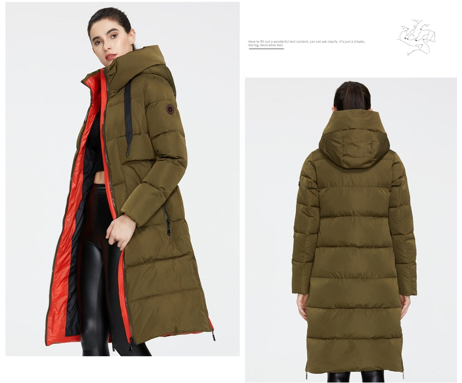 ICEbear 2020 New Winter Women Jacket High Quality Long Woman coat Hooded Coats.
