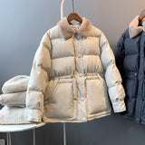 Warm Winter Women's  Fur Collar Fashion Cotton Coat-Solid Color Loose Coat.