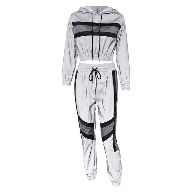 thepublisher,Women's Reflective Two Pieces Tracksuit Silver Sets Patchwork Crop,Acapparelstore,Women's Tracksuits