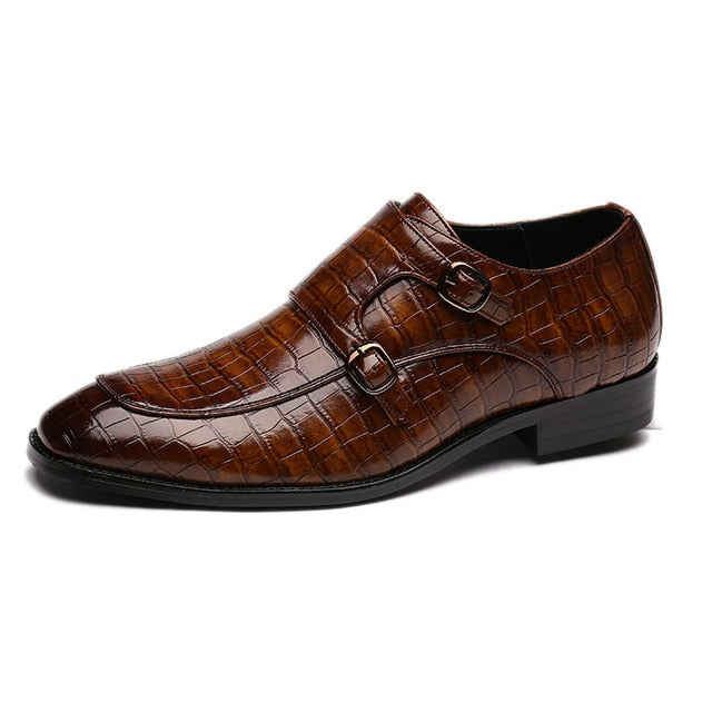 Men's High-Quality Square Toe Formal Dress Leather Shoes Italian Loafers Brogue Shoe.