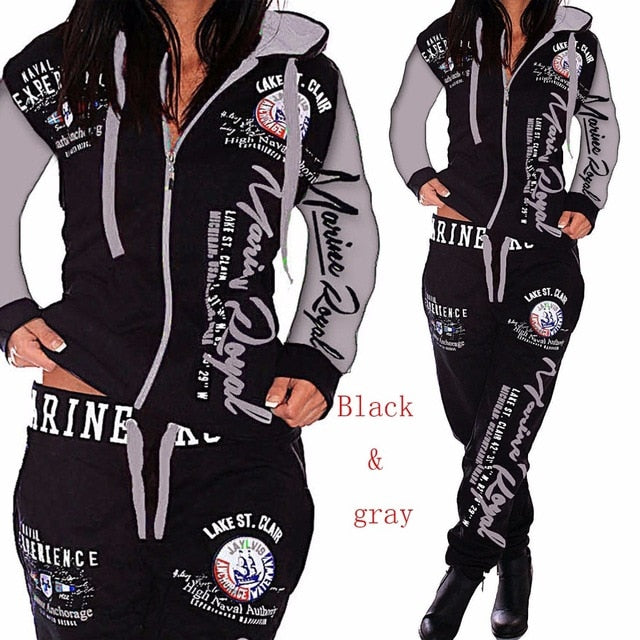 Two Piece Set Women's Jogging Hooded Tracksuits.