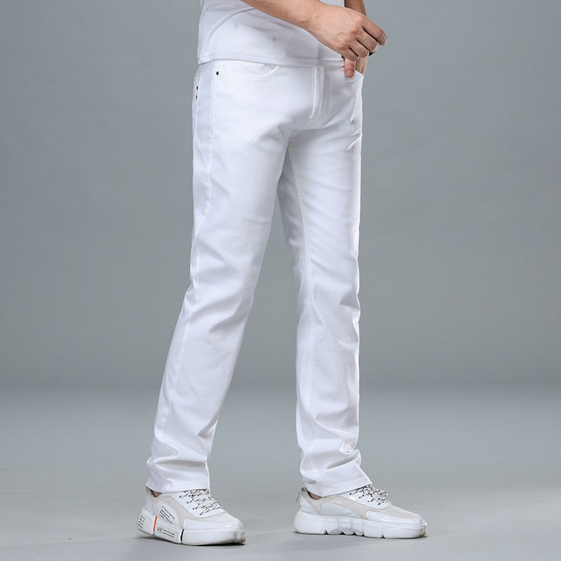 Classic Style Men's Regular Fit White Jeans Business Fashion Cotton Denim.