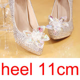 Women's Silver Crystal Wedding Shoes Pointed Toe High Heel.