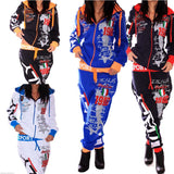 Brand New Women Two Piece Set Hooded Tracksuit Outfits Printed Sportswear