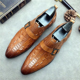 Oxford Genuine Leather Formal Men's Buckle Crocodile Shoes Plus Size.