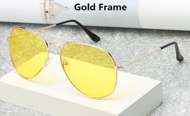Brand 3025 Goggles Night Vision Glasses for Driving Fashion Aviation Yellow Sunglasses.