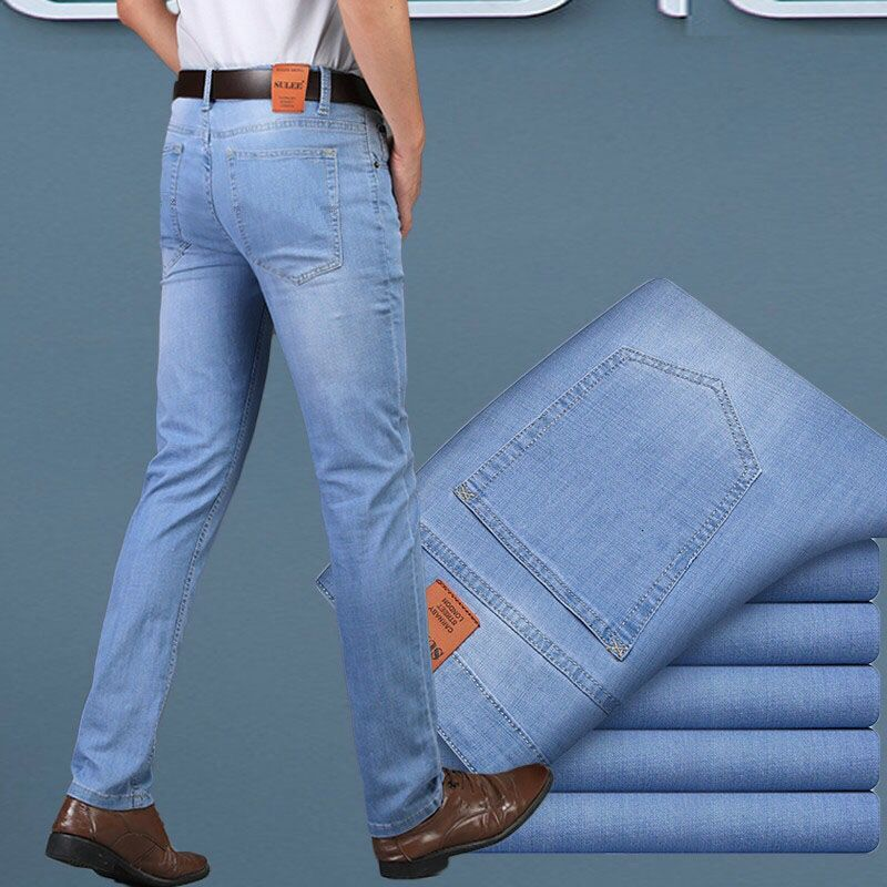 thepublisher,Men's 2020 Fashion Business Stretch Denim Trouser Casual Light Blue Vintage Dress Pant,Acapparelstore,Men's Jeans