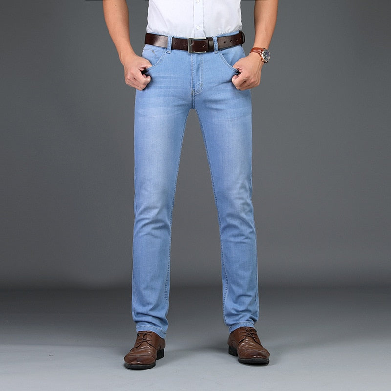 Men's 2020 Fashion Business Stretch Denim Trouser Casual Light Blue Vintage Pant.