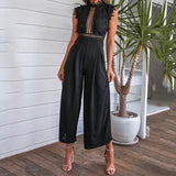 thepublisher,Elegant Women's Summer Sleeveless Backless Ruffled Long Jumpsuit Hollow Out,Acapparelstore,
