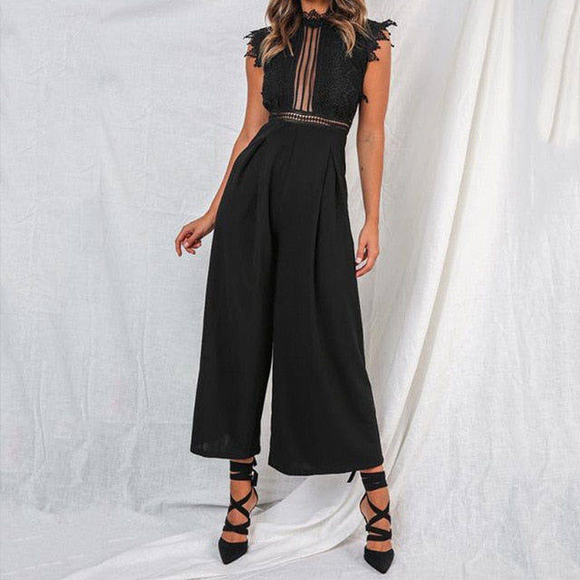 Elegant Women's Summer Sleeveless Backless Ruffled Long Jumpsuit Hollow Out.