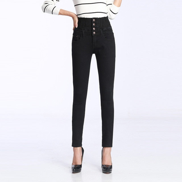 Women's Winter Jeans High Waist Skinny Pants Fleece Lined Elastic Waist Plus Size.