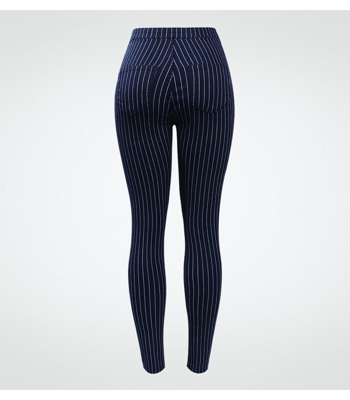 Women's EU Size White Stripes High Waist Blue Jeans New Spring Summer Pencil Pants.