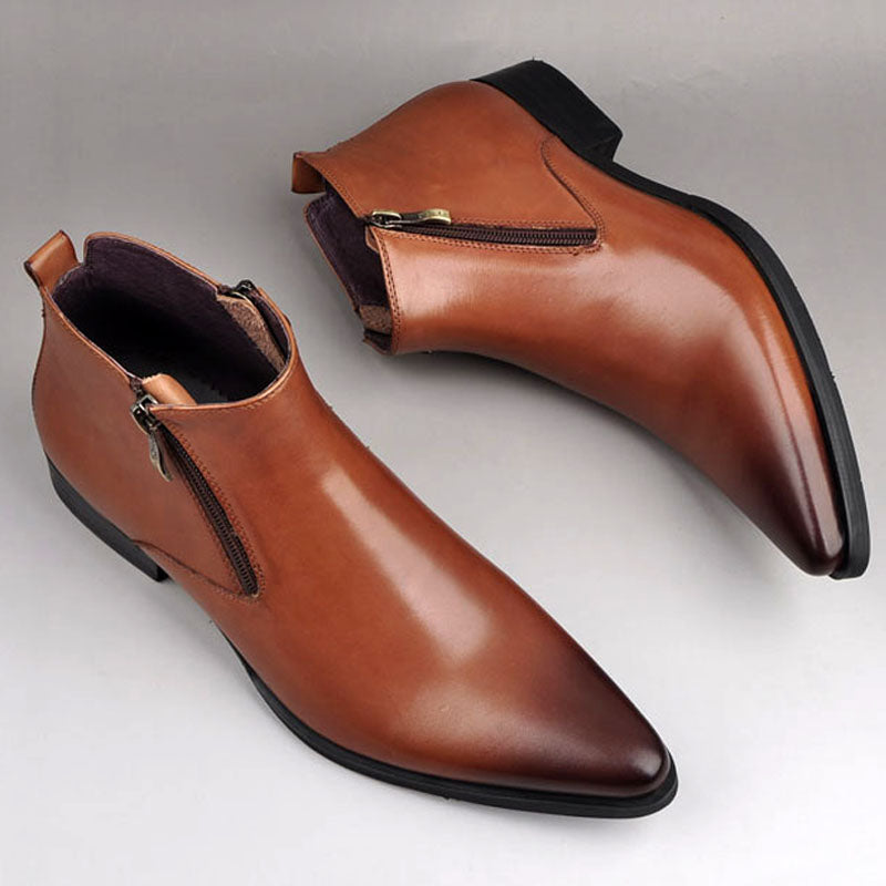 Men's Fashion Genuine Leather Work Boots Men's Formal Derby Dress Shoes.