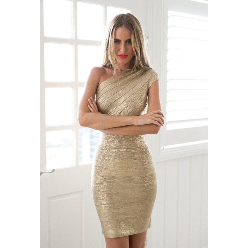 thepublisher,Gold Stamp One Shoulder Bandage Dress 2020 Hot Sale Women Mini Dresses Celebrity Party Club Bodycon Sleeveless Empire Vestido,Acapparelstore,Casual Dresses