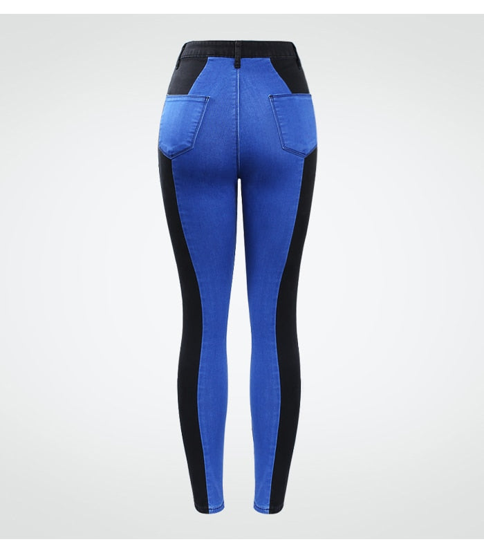 Elegant Woman's High Waist Jeans Black & Blue Stretchy Denim Skinny Pants.
