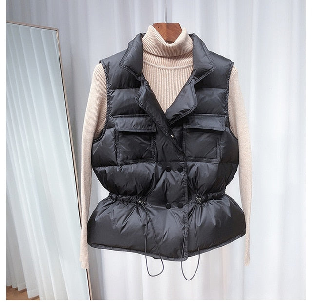 2020 New Ultra Light Down Vest Women Short Vest Windproof Lightweight Sweaters.