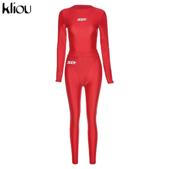 women's letter print two piece outfits full sleeve bodysuits+sporty leggings matching set.