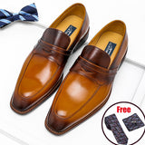 Men's Italian Genuine Leather Shoes Penny Pointed Toe Loafers Slip on Oxfords Brown Blue Shoes