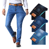 Classic style Men's Jeans-Business Casual Stretch Slim Denim Light Blue Black Trousers