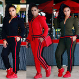 TWO PIECE SET Stripe Jogger Pants Women's Runway Tracksuit Plus Size