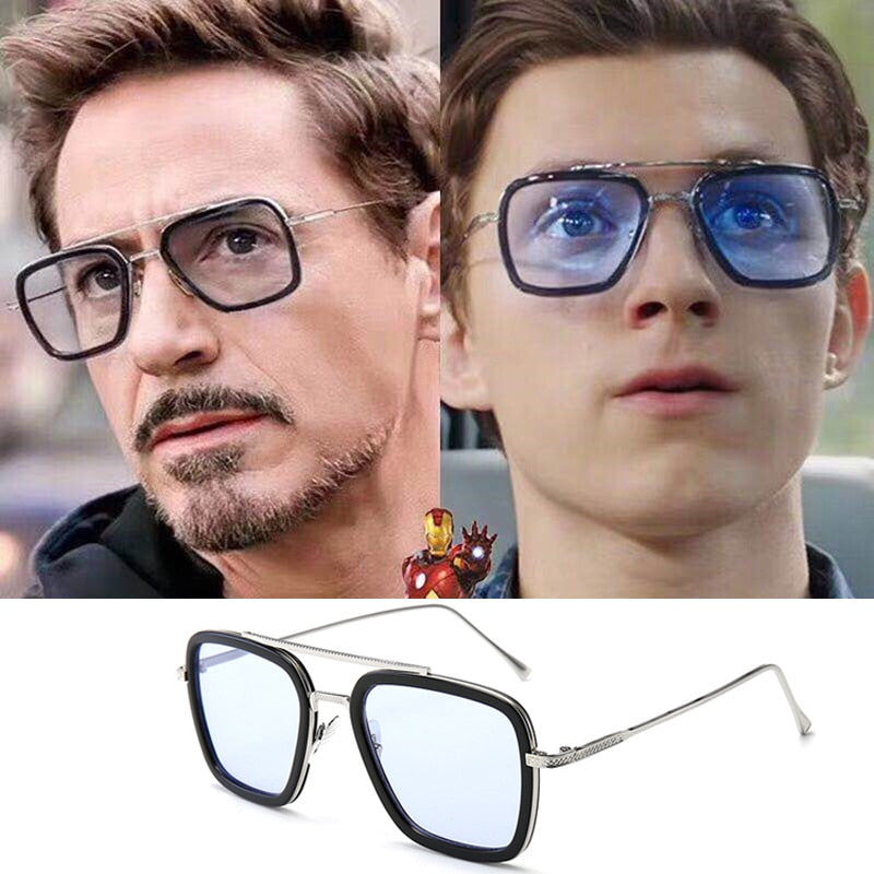 Tony Stark Flight Style Sunglasses Men's Square Brand Design Sun Glasses UV400.