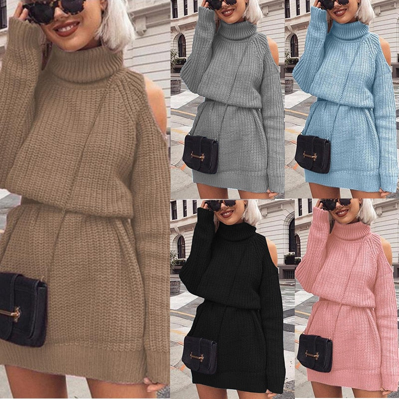 Women's Autumn Winter New Sweater Mid-length High-neck Off-shoulder Sweater.