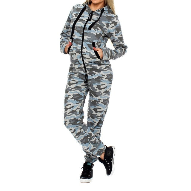 Women's 2 Piece Set Fashion Camouflage Autumn Tracksuit Tops and Pants.