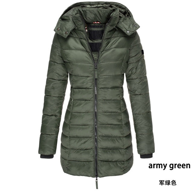 Women's Parkas Winter Hooded Warm Coat Solid Slim Fit Cotton Padded Jackets.