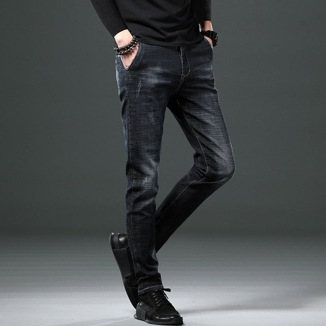 2021 new men's jeans spring and autumn pants trendy casual trousers.