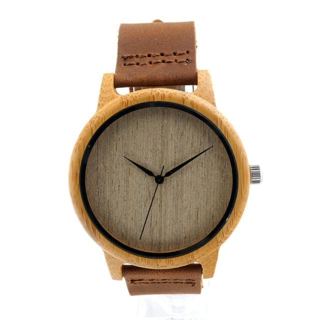 Men Women Bamboo Quartz Watch With Soft Leather Straps.