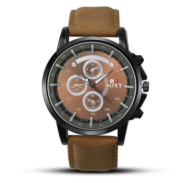Pu Leather Luxury Men Luminous Analog Military Sports Quartz Male Wristwatch.