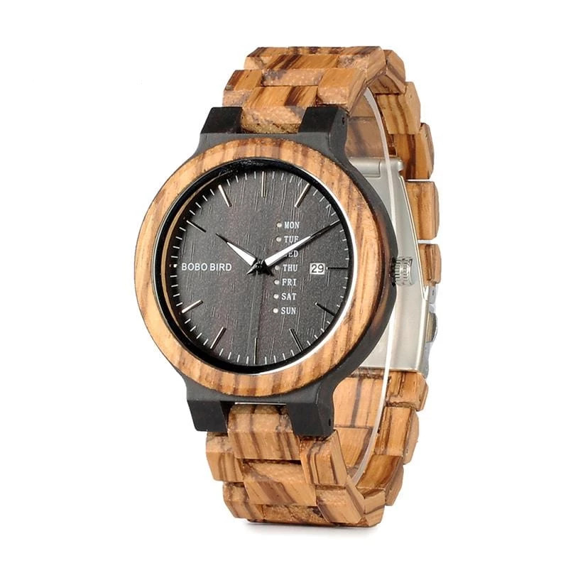 Zebra Display Date Quartz Watch Two-tone.