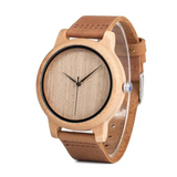 Men's Wooden Wristwatches Genuine Leather Band.