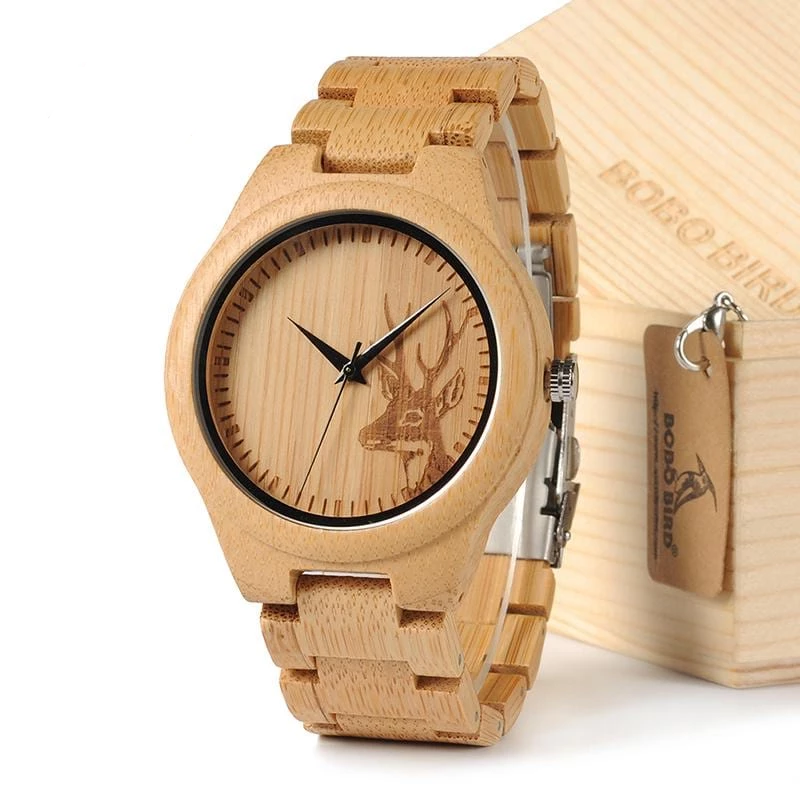 D28 Natural Bamboo Wood Watch Strap For Gift.