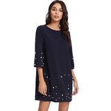 SHEIN Pearl Beading Tunic Short Dress