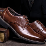 High Quality Genuine Leather Men Brogues Shoes Lace-Up Oxfords Formal Shoes