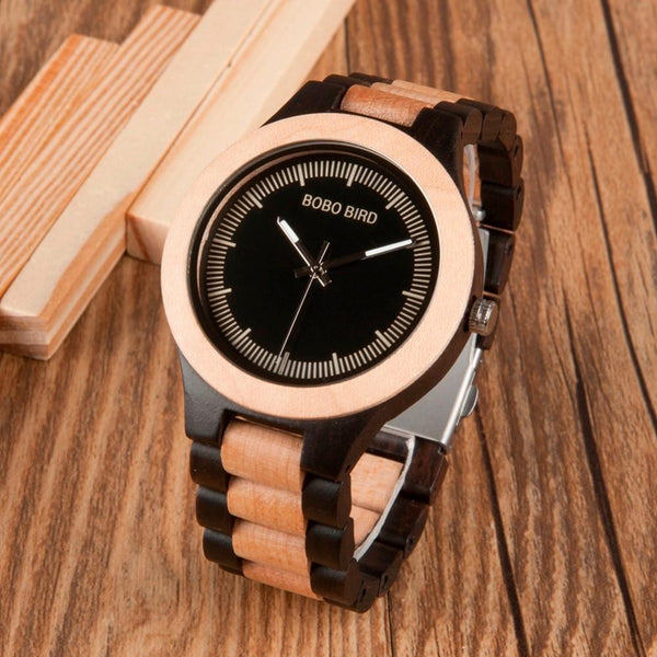BOBO BIRD Male Antique Wooden Watches LO01O02 with Wooden Band In Japan Gift Box