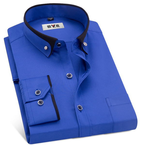 MACROSEA Spring&Autumn Men's Business Dress Shirts Male Formal Button-Down Collar