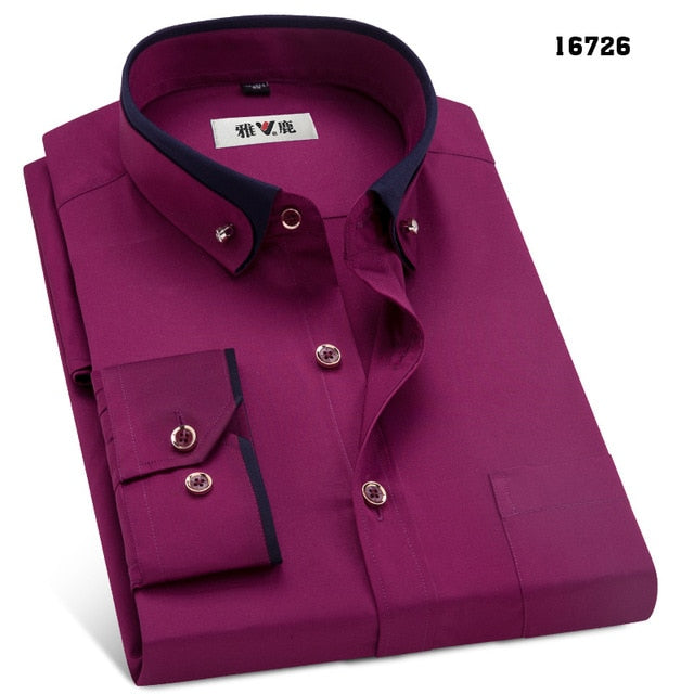 MACROSEA Spring&Autumn Men's Business Dress Shirts Male Formal Button-Down Collar.