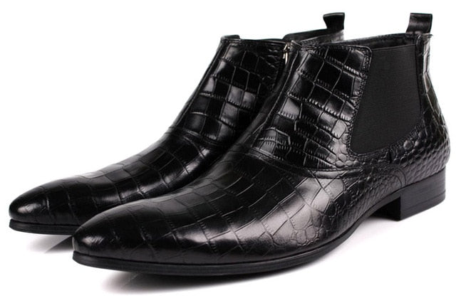 Men's ankle boots genuine leather business dress shoes Size 5.5-10.5.