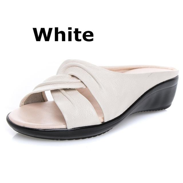 Mother Flats Casual Beach Summer No Strap Cow Genuine Leather Slip On.