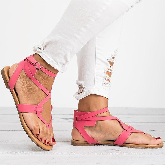 Women Plus Size 35-43 Gladiator Summer Female Beach Flat Sandals.
