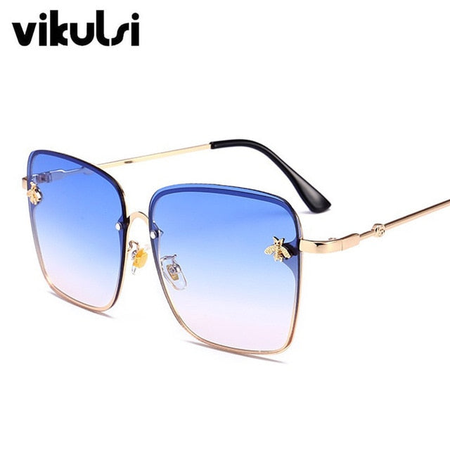Women Brand Designer Bee Metal Frame Oversized Sunglasses UV400.